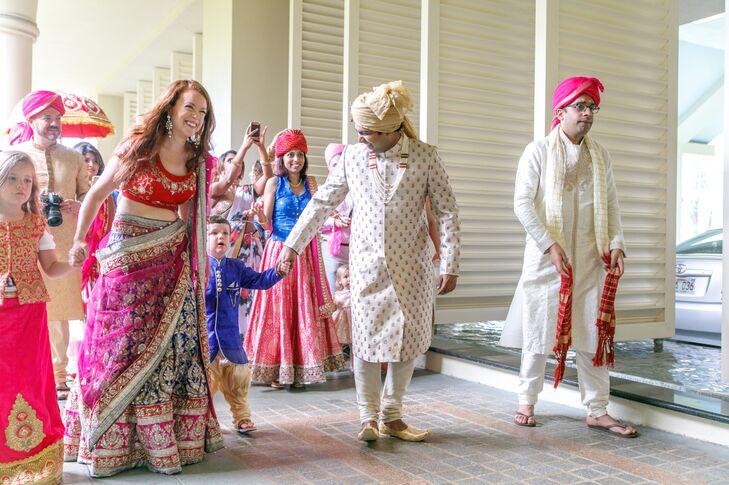 Groom in Traditional Hindu Wedding Attire During Barrat