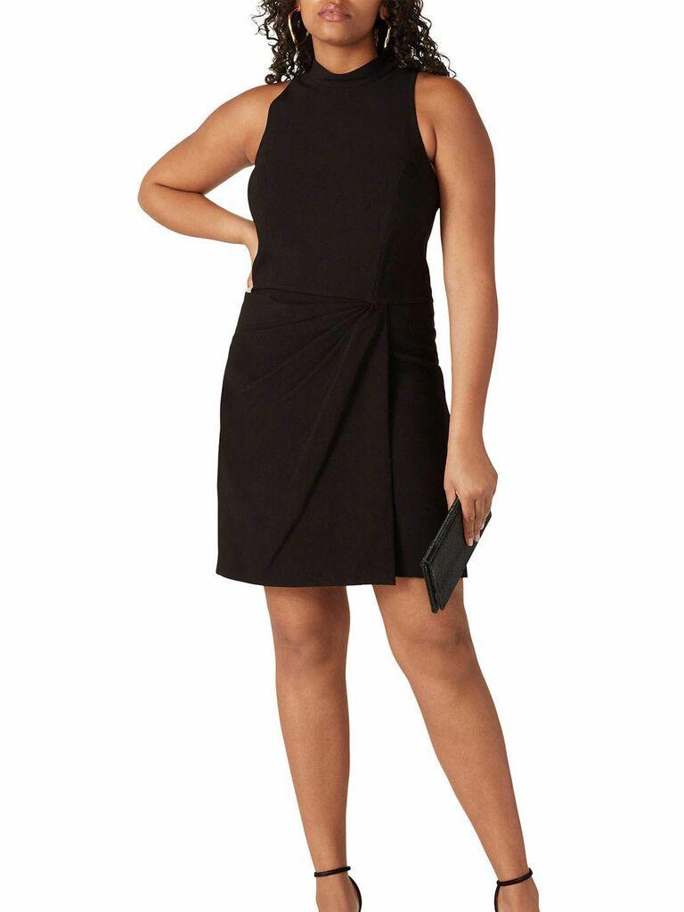 Sleeveless black mini fall wedding guest dress with mock neckline