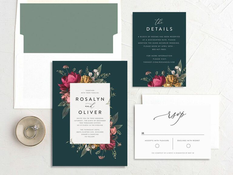 teal flower fall wedding invitation
