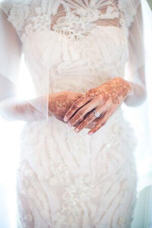 Monique Lhullier Lace Appliqué with Bridal Henna