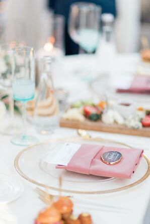 Place Setting With Pink Napkin and Agate Place Card