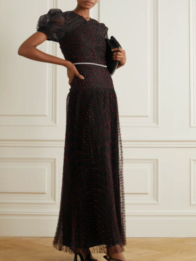 Black formal maxi fall wedding guest dress with red dots and sheer puff sleeves