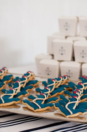 Navy Anchor Cookies With Favor Boxes