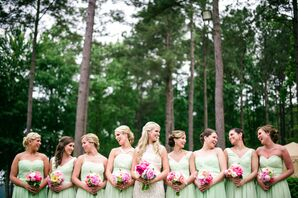 Custom Mint Bridesmaid Dresses with Pink Bouquets