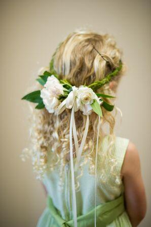 Flower Girl with Fresh White Flower Crown
