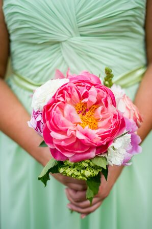 Large Bloom Pink Peony Bridesmaid Bouquet