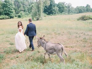 Bride, Groom and Donkey in Countryside Photoshoot