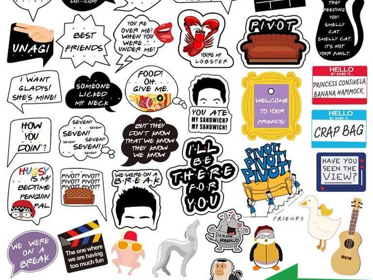 'Friends'-themed photo booth icons and sayings