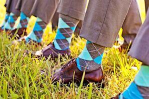 Colorful Aqua Argyle Groomsmen Socks