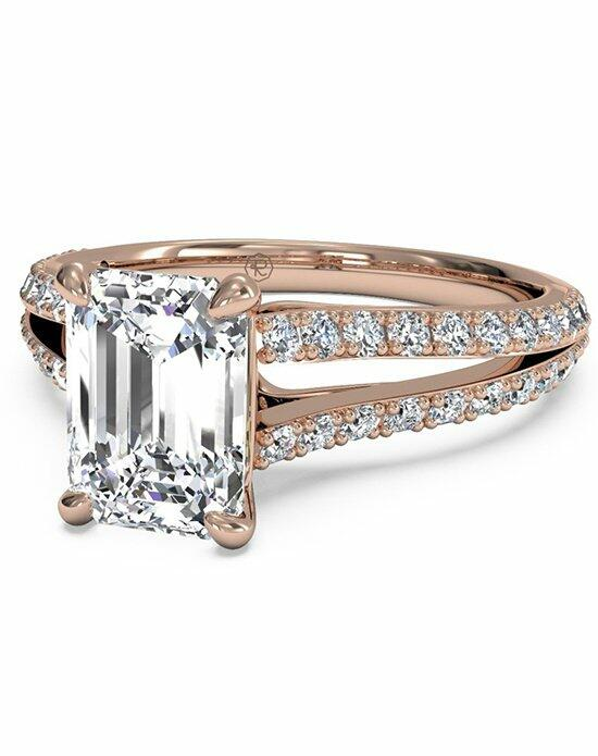 Ritani Emerald Cut Double French-Set Diamond 'V' Engagement Ring with Surprise Diamonds in 18kt Rose Gold (0.24 CTW) Engagement Ring photo