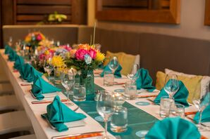 Turquoise Dining Table at Caribbean Wedding Reception