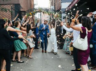 """The wedding of Cara Blue Adams and Cam Terwilliger spanned two days. On the first day, Friday, """"we did the official part at City Hall in a low-key eve"""