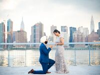 Surprise proposal in front of NYC skyline