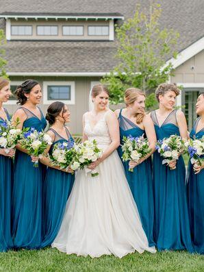 Elegant Blue Chiffon Bridesmaid Dresses with Illusion Straps
