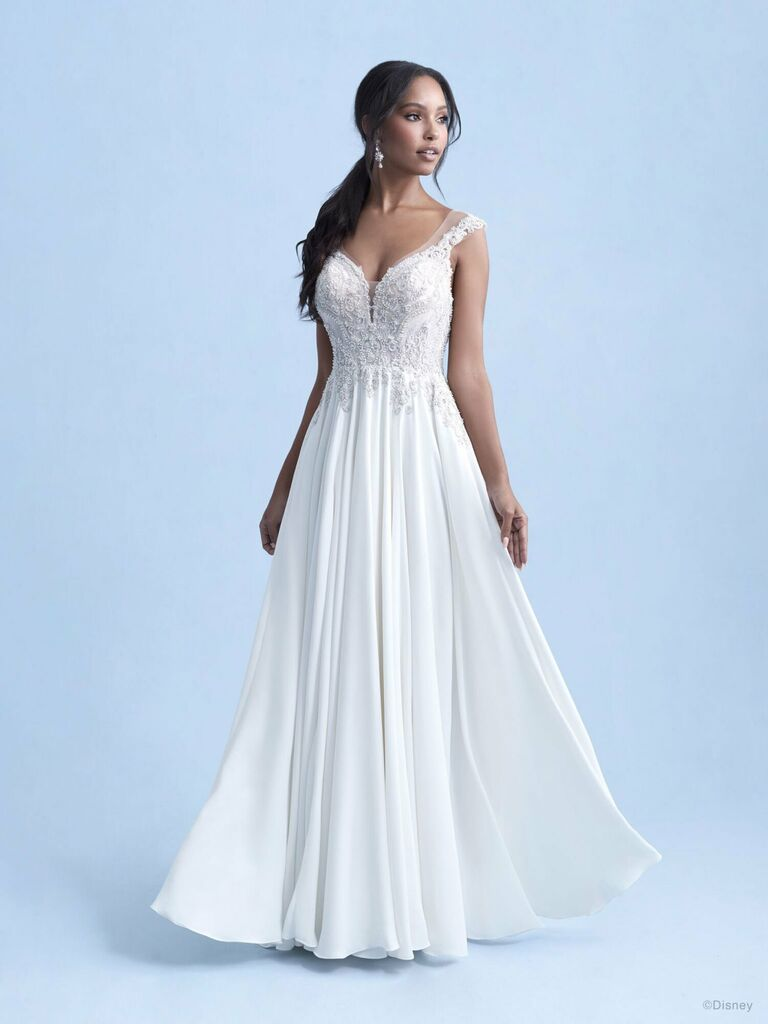 disney weddings white a line wedding dress with sweetheart neckline lace off the shoulder straps pockets and flowy pleated skirt