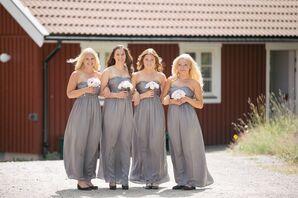 Floor-Length Gray Bridesmaid Dresses