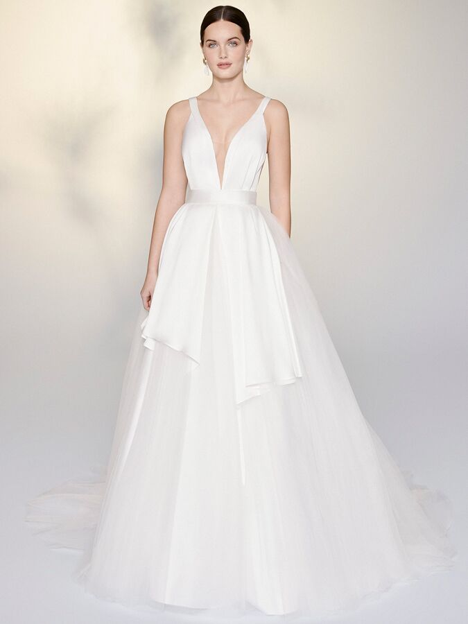 Justin Alexander Signature ball gown with tulle apron skirt