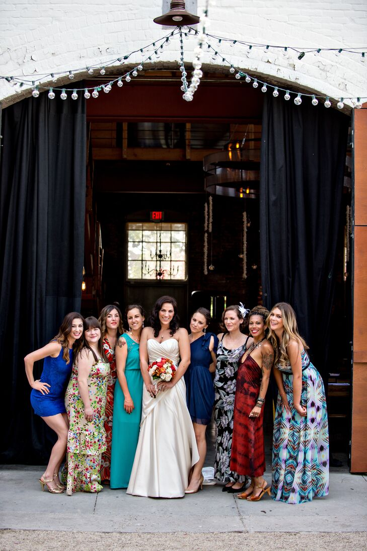 """""""We asked our closest friends to be the """"unofficial bridal party,"""" says Rose. """"We didn't want to put pressure on anyone that day, so we told them to wear whatever they wanted, and that hair and makeup was available to them should they choose to do it. It was so laid back, and nobody felt miffed or fought about what dress works best for them."""""""