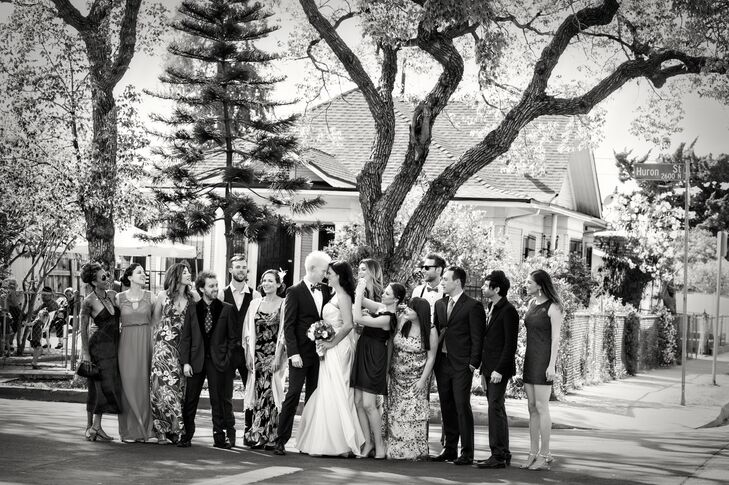 Black and White Wedding Party Shot