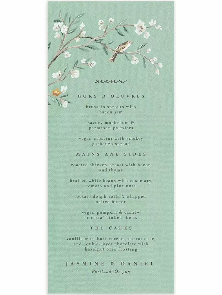 Branch with white flowers and bird above menu items in black minimalist type on green background