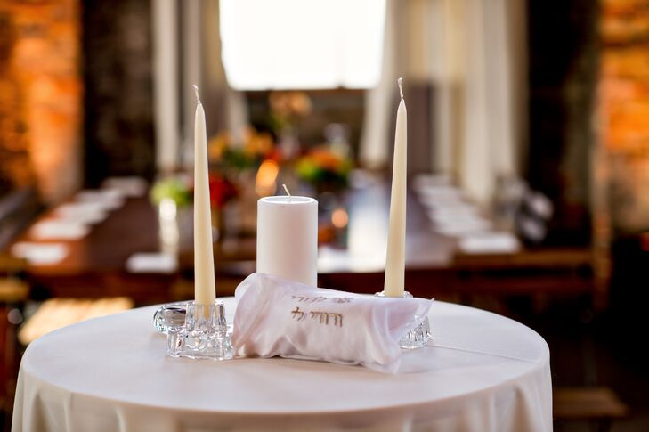 """""""It was really important for us to incorporate some Jewish elements into our wedding so that we could share that part of ourselves with our friends who may not be so familiar with it,"""" says Rose."""