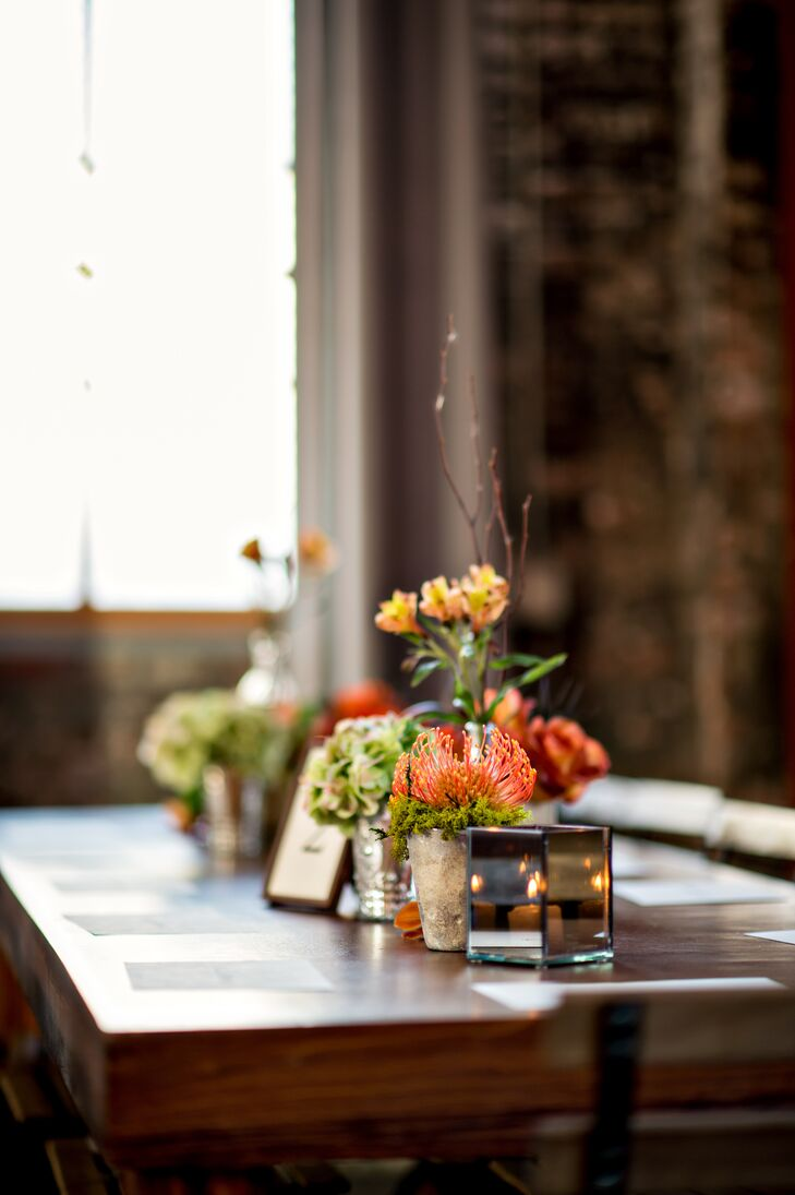 Succulent and Candle Reception Centerpieces