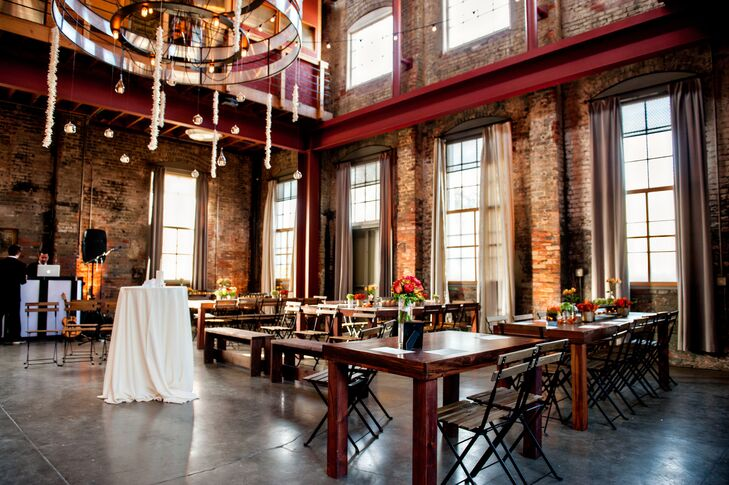"""""""We had a mixer-type of wedding instead of a seated, coursed dinner, so the space lends itself well to that type of party,"""" says Rose. """"Once we got there and were with all of the people, we loved it because it was clear to us that it's not the space you are in, but the people you are with that make it special."""""""