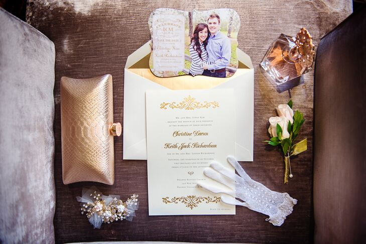 """""""I went with a simple ecru and gold foiled printed invitation set from Crane & Co,â€u009d Christine says. """"The sides of the invitation were even hand painted with 14k gold paint!â€u009d"""