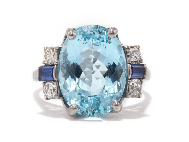 ashley zhang oval aquamarine silver engagement ring with diamonds and sapphire stones