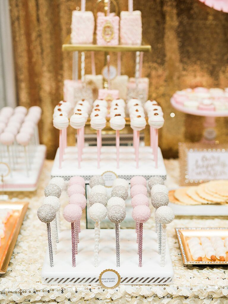 Cake pop dessert station for a wedding reception