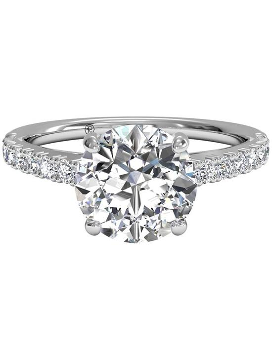Ritani French-Set Diamond Band Engagement Ring - in 14kt White Gold - (0.23 CTW) for a Round Center Stone Engagement Ring photo