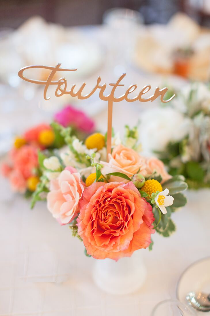 Gold Cursive Table Numbers