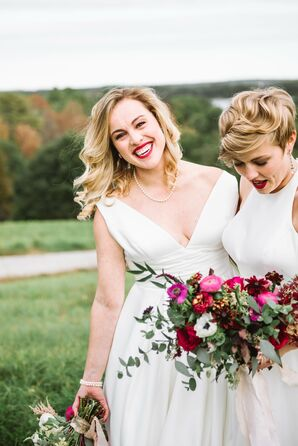 Brides with Simple Dresses and Bold Lipstick