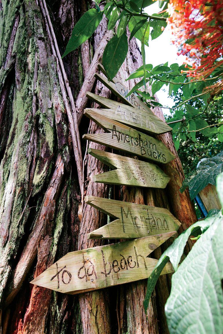 Rainforest signage for a destination wedding