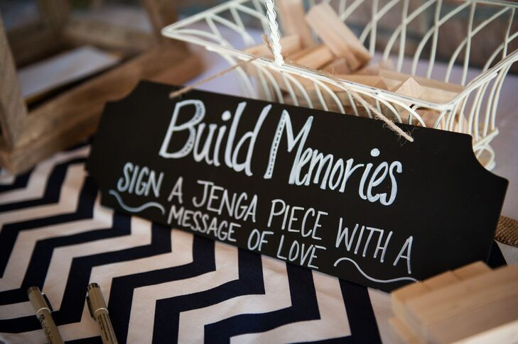 Instead of a traditional guest book, Shannon and Tom had their guests write their well wishes and advice on Jenga blocks.