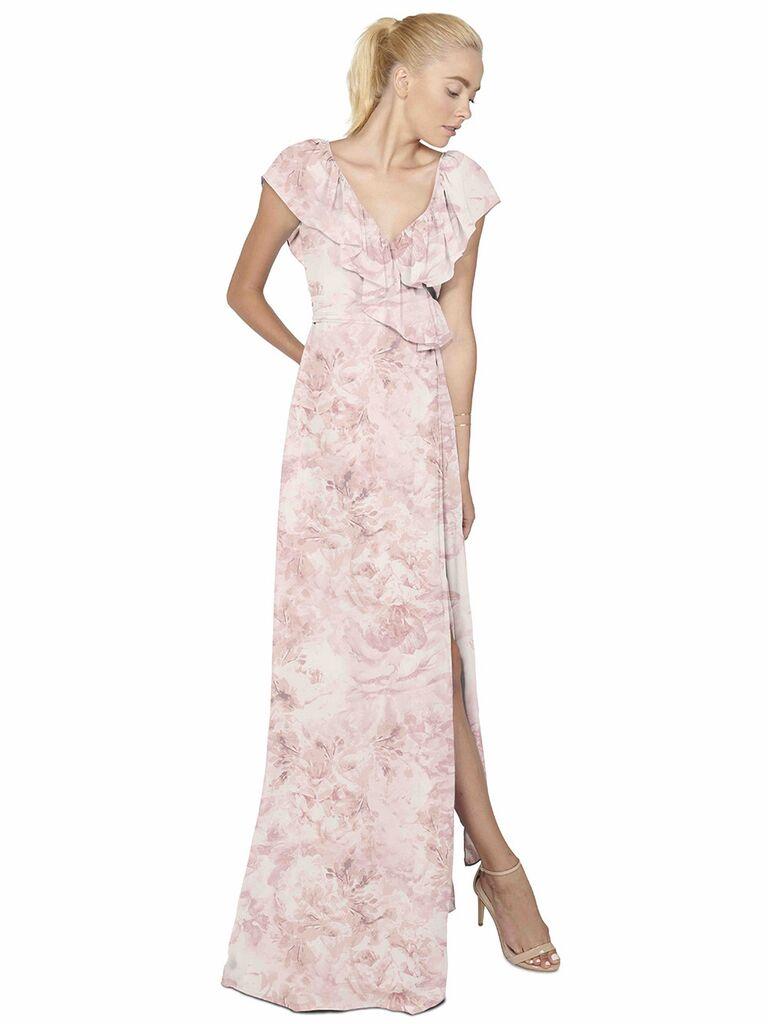 Joanna August LoLo long print bridesmaid dress