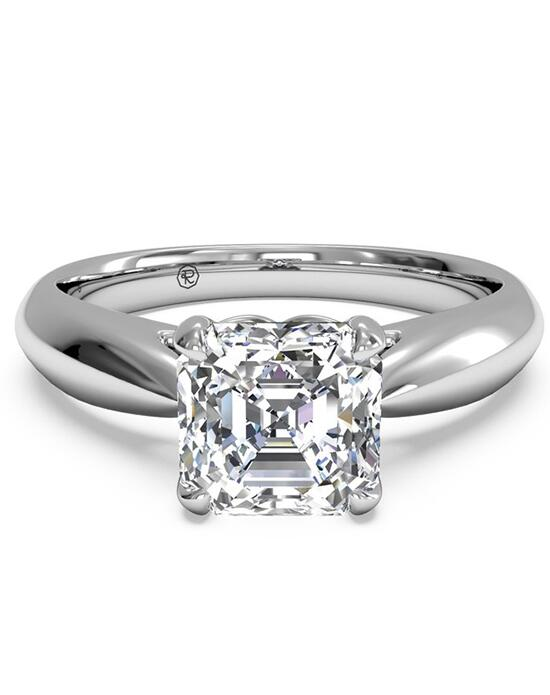Ritani Solitaire Diamond Cathedral Tapered Engagement Ring - in 14kt White Gold for a Asscher Center Stone Engagement Ring photo