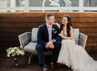 """Kelsey always wanted """"a beach wedding, something very romantic and whimsical,"""" so she and Timothy decided to tie the knot close to the water at The Re"""