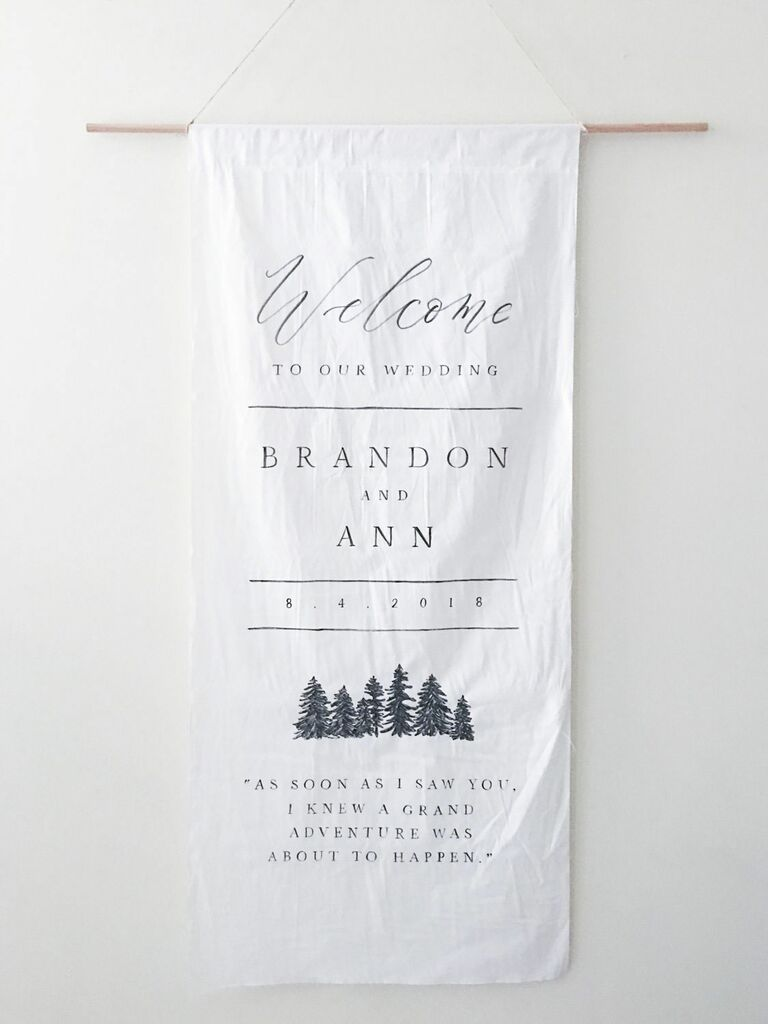 Rustic fabric wedding welcome sign
