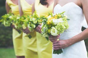 Yellow and Green Spring Bridal Party Bouquets