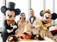 disney wedding reception with mickey and minnie