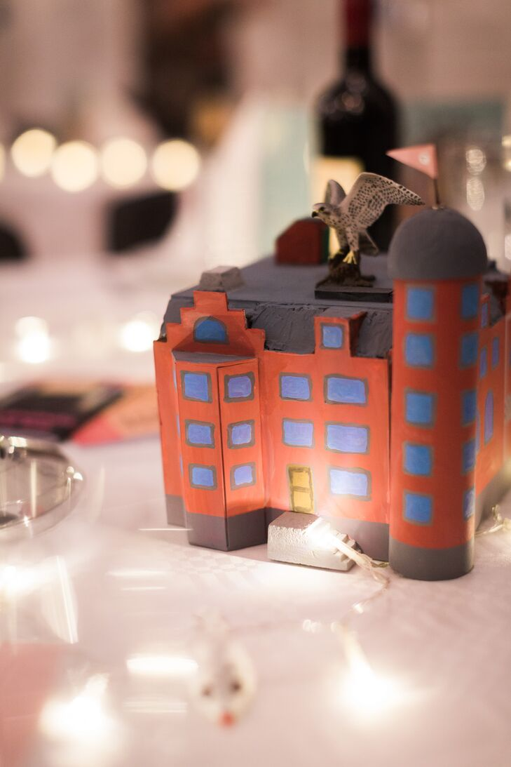 The dining tables at the reception each featured centerpieces based on different Wes Anderson movies. One of the tables had a model of the house from 'The Royal Tenenbaums.'