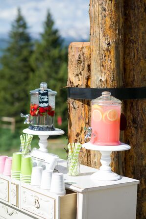 Ceremony Drink Station with Berry Water and Lemonade