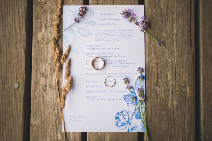 Blue and White Floral Wedding Invitation