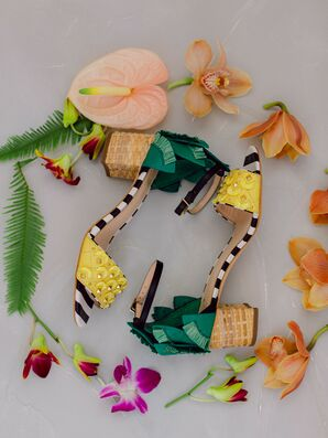Colorful and Tropical Shoes at Backyard Minimony in Southern California