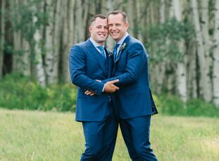 """A remote cabin and a grove of Aspen trees set the stage for James and Logan's """"mountain contemporary"""" wedding in Beaver Creek. The couple played up th"""