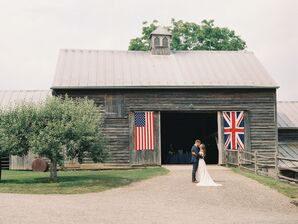 Flags on the Barn Saluted the Couple's Transatlantic Roots