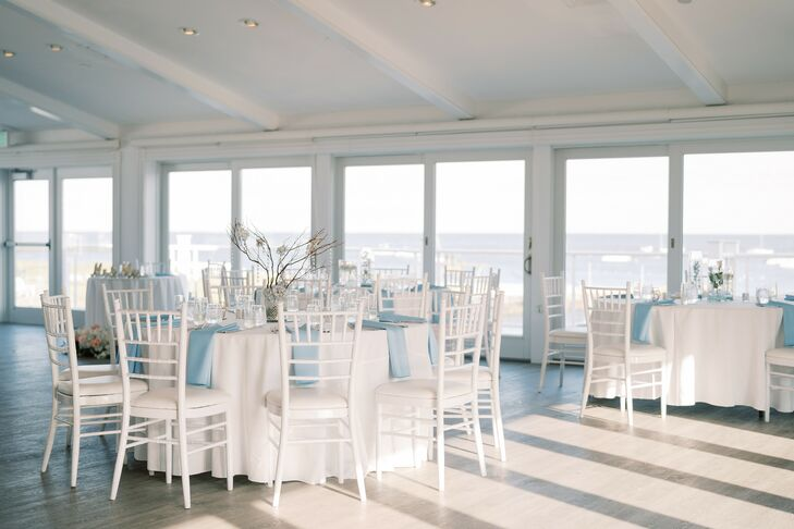 Blue-and-White Reception Décor at Wychmere Beach Club in Harwich Port, Massachusetts