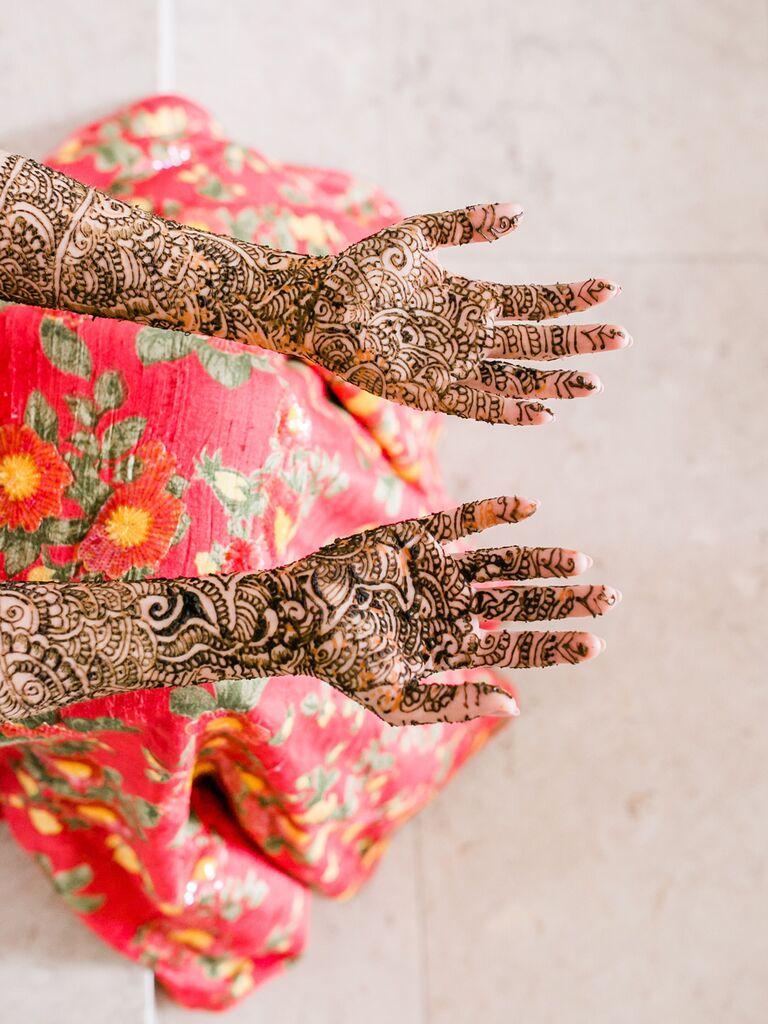 Bridal hand and arm henna tattoos