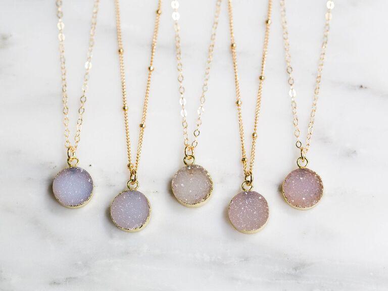 Bridesmaid druzy necklaces